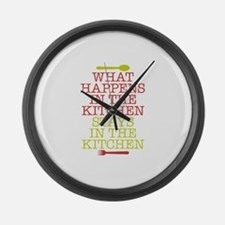 What Happens in the Kitchen Large Wall Clock