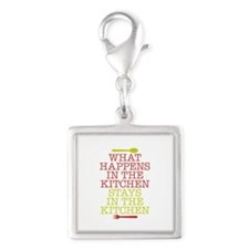 What Happens in the Kitchen Silver Square Charm
