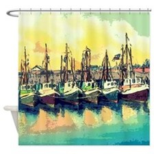 Vintage Shrimp Boat Postcard Shower Curtain