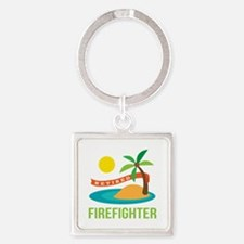 Retired Firefighter Square Keychain