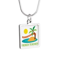 Retired French teacher Silver Square Necklace