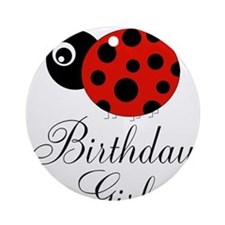 Red and Black Birthday Girl Ladybug Ornament (Roun