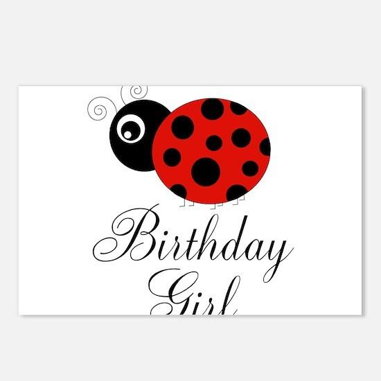 Red and Black Birthday Girl Ladybug Postcards (Pac