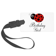 Red and Black Birthday Girl Ladybug Luggage Tag