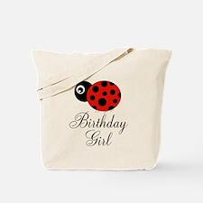 Red and Black Birthday Girl Ladybug Tote Bag