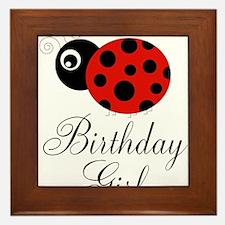 Red and Black Birthday Girl Ladybug Framed Tile