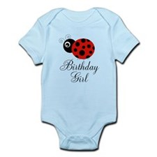 Red and Black Birthday Girl Ladybug Body Suit