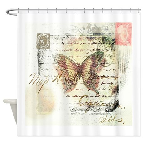 vintage butterfly shower curtain by ibeleiveimages