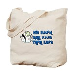 Hit Hard, Run Fast, Turn Left Tote Bag