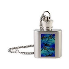 Dragonfly Flit electric Blue Flask Necklace