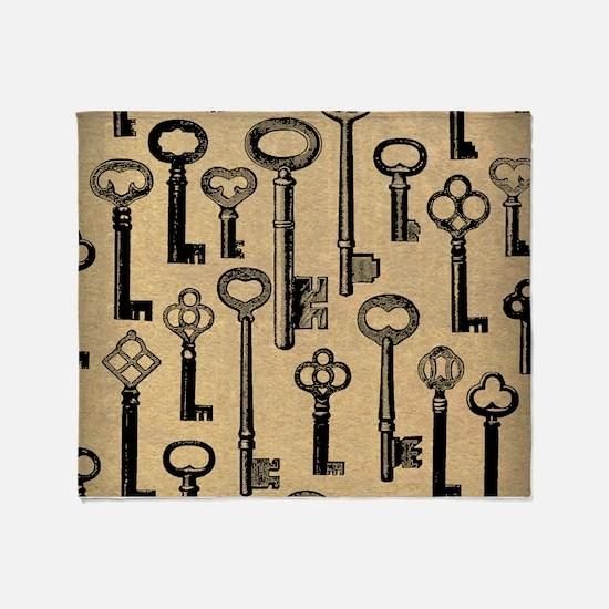 Old Keys Pattern Throw Blanket