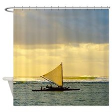 Hanalei Bay Sunset Sail Tropical Shower Curtain