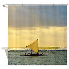 Hanalei Bay Sunset Sail Tropical Shower Curtain