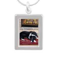 A Place By The Fire Silver Portrait Necklace