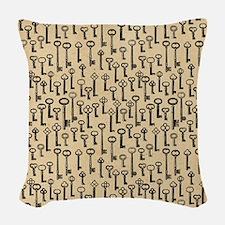Old Keys Pattern Woven Throw Pillow