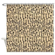 Old Keys Pattern Shower Curtain