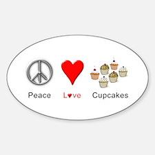 Peace Love Cupcakes Sticker (Oval)