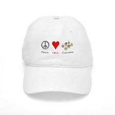Peace Love Cupcakes Baseball Cap