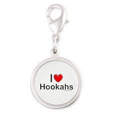 Hookahs Silver Round Charm