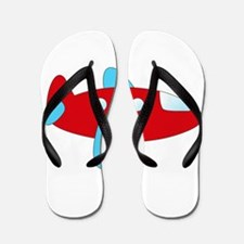 Red and Blue Airplane Flip Flops