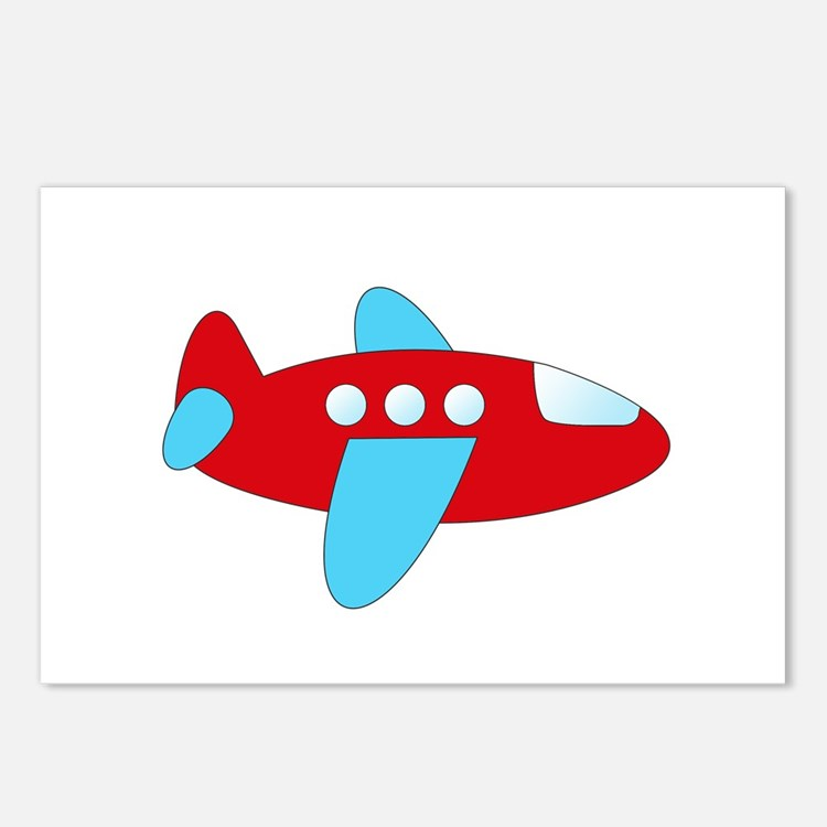 Red and Blue Airplane Postcards (Package of 8)