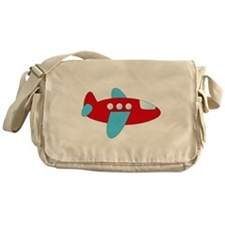 Red and Blue Airplane Messenger Bag