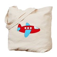 Red and Blue Airplane Tote Bag