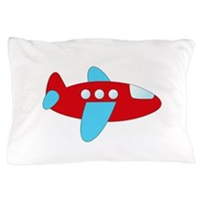 Red and Blue Airplane Pillow Case