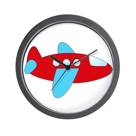 Red and Blue Airplane Wall Clock