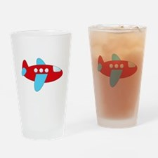 Red and Blue Airplane Drinking Glass