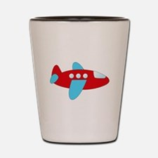 Red and Blue Airplane Shot Glass