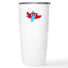 Red and Blue Airplane Travel Mug
