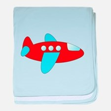 Red and Blue Airplane baby blanket