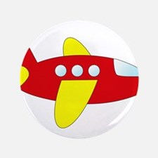 "Red and Yellow Airplane 3.5"" Button"