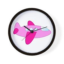 Pink Airplane Wall Clock