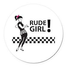 Ska RUDE GIRL Round Car Magnet