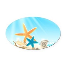 Summer Beach Oval Car Magnet