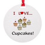 I Love Cupcakes Round Ornament