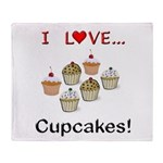 I Love Cupcakes Throw Blanket