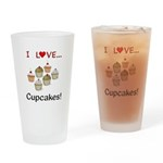 I Love Cupcakes Drinking Glass
