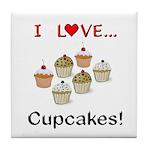 I Love Cupcakes Tile Coaster