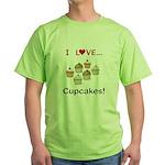 I Love Cupcakes Green T-Shirt
