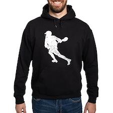 Distressed Lacrosse Player Silhouette Hoodie