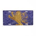 Rampant Lion - gold on blue Aluminum License Plate