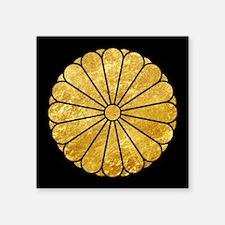 Kiku Chrysanthemum Mon gold on black Sticker