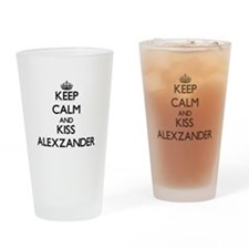 Keep Calm and Kiss Alexzander Drinking Glass