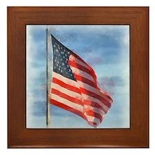 American Flag Art Framed Tile