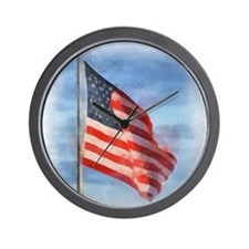American Flag Art Wall Clock