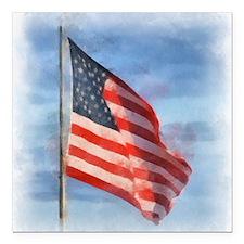 "American Flag Art Square Car Magnet 3"" x 3"""
