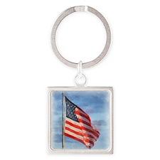 American Flag Art Square Keychain